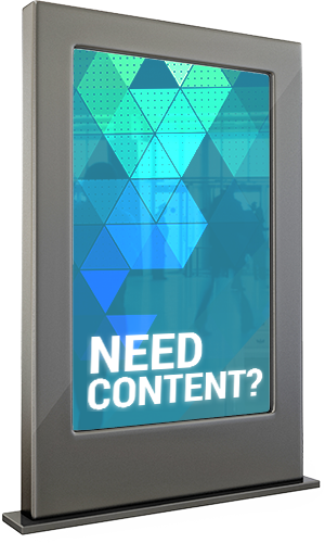 A digital sign, asking 'Need Content?'